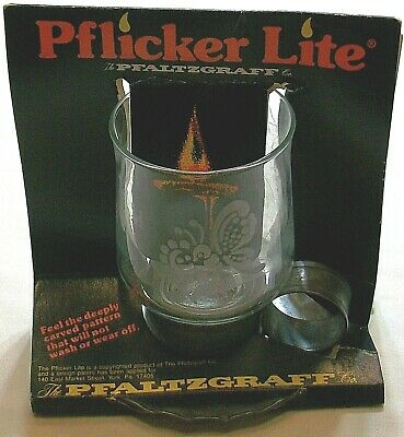 Pfaltzgraff Pflicker Lite Etched Glass Tin Candle Holder Floating Oil Wicks New • 15.45£