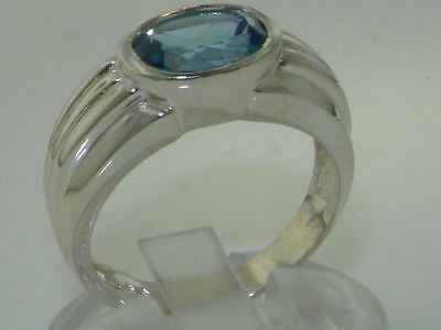 Heavy Quality Solid Sterling Silver 9x7mm Blue Natural Topaz Solitaire Band Ring • 79£