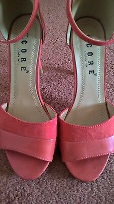 Peach / Coral / Orange High Heeled Strappy Sandals Suede And Leather 3 / 36 • 4.99£