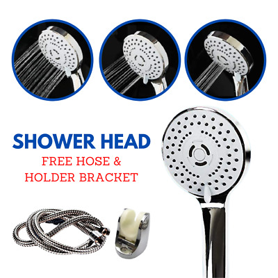 Universal Shower Head With Hose 2M And Holder Bracket 3 Shower Modes Chrome • 7.99£