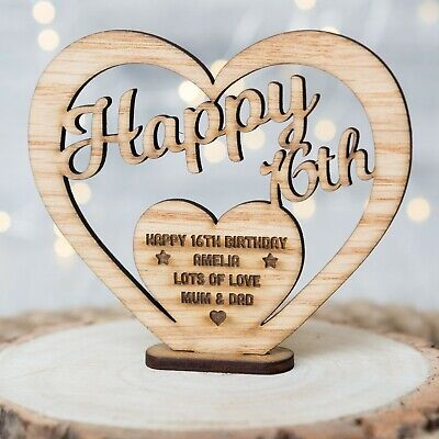 Personalised Wooden Birthday Name Gift Freestanding Heart For 16th 30th 40th Oak • 5.89£