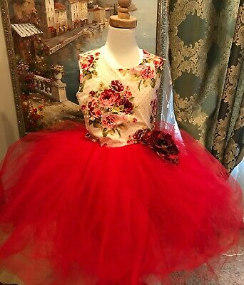 £33.07 • Buy Princess Flower Girl Dress Party Bridesmaid Wedding Pagent Dress Red Floral 7/8