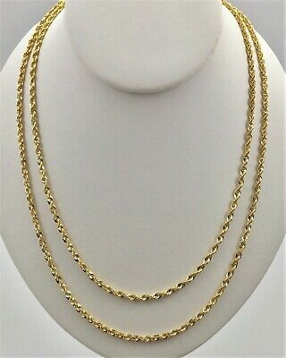 $159.99 • Buy 10K Solid Yellow Gold 3mm Necklace Gold Rope Chain 16  18  20  22  24  26  30