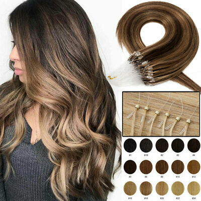 £28.05 • Buy 8A 100% Real Remy Human Hair Extensions Micro Ring Loop Beads 300S Full Head UK