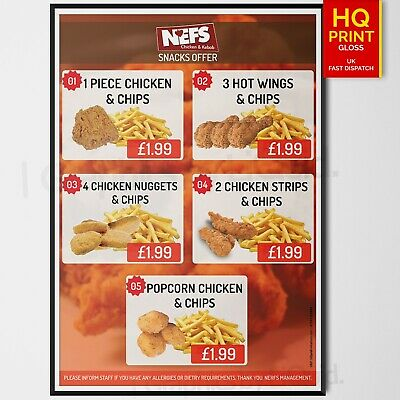 £14.99 • Buy Takeaway Fast Food Chips/Chicken Restaurant Takeaway Menu Poster | A4 A3 A2 A1 |