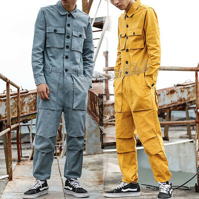 $69.99 • Buy Mens Overalls Cotton Rompers Trousers Pockets Jumpsuit Long Pants S-5XL Fashion