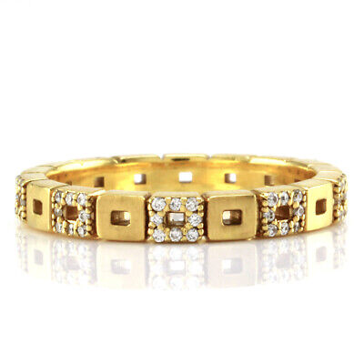$1395 • Buy Norman Covan Diamond Open Squares Eternity Gold Band