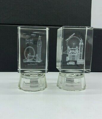 Set Of 2 London 3D Crystal  With Colourful Changing Lights  London  Souvenir  • 9.99£