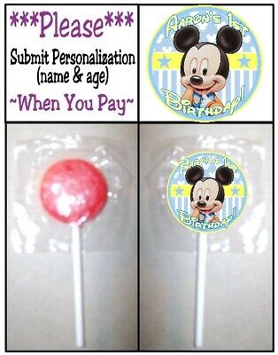 $4.99 • Buy 24 Baby Mickey Mouse Birthday Party Shower Lollipop Stickers Invitation Seals