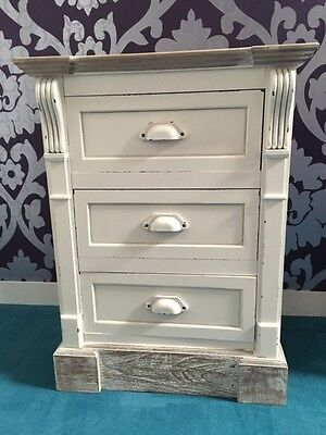 New England Antique White Shabby Chic Three Drawer Bedside Table • 125£