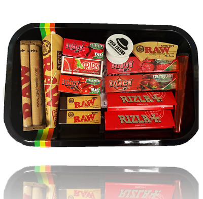 Bulk Buy Gift Rolling Tray Set - Flavoured Rolling Papers, Tips, RAW Smoking UK • 12.99£
