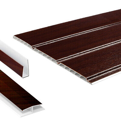 Rosewood Hollow Soffit Board / UPVC Plastic Panel Cladding & Trims - 5m Lengths • 32.95£