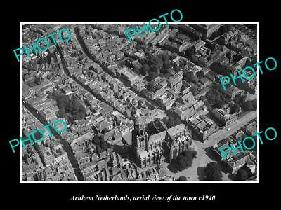 AU9 • Buy OLD 8x6 HISTORIC PHOTO ARNHEM NETHERLANDS AERIAL VIEW OF THE TOWN C1940