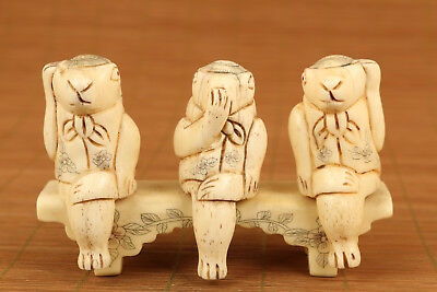 Unique Japanese Old Carved Stand 3 Rabbit Statue Netsuke Collectable  • 56.66£