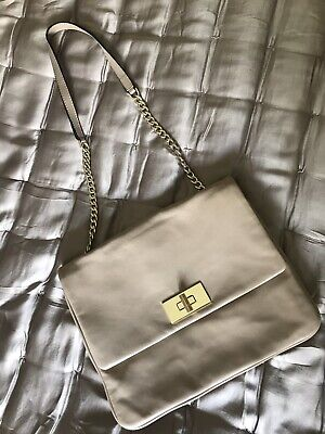 M&S Autograph Nude Beige Butter Soft Leather Shoulder Bag Dustbag Chain Strap • 24.99£