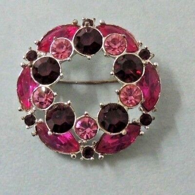 $15.95 • Buy Vintage Emmons Beauty-Layered Pink And Red Rhinestone Brooch 2 3/4