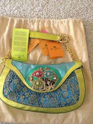 $359 • Buy  NWT Authentic Etro Bag In Turquoise Brocade And Lime Leather Trim