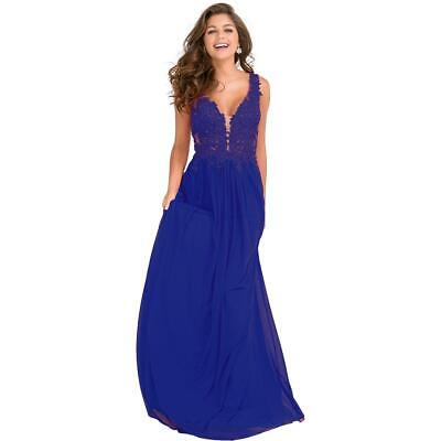 be46bbe926 JVN By Jovani Womens 41466A Blue Prom Embellished Evening Dress Gown 8 BHFO  2820 • 143.20