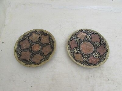 Two Unusual Indian Copper, Brass & Black Painted Hanging Plates, Goats • 23.95£