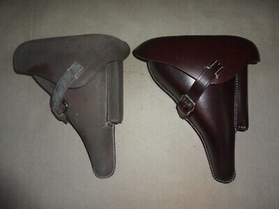 Leather Holster For WW2 German P08 (Set Of 2) Oiled & Brown Color - Repro B043 • 47.19£