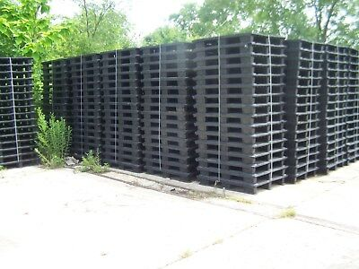 $160 • Buy 16 UNMARKED 47.5 X39.5  NESTING PLASTIC PALLETS W/ REMOVABLE RUNNER FEET STRIPS