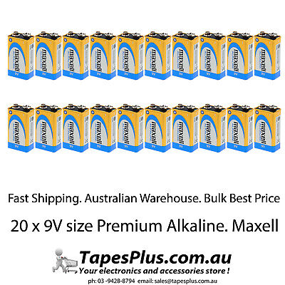 AU49.95 • Buy 20 X 9V Battery Alkaline Bulk 9 Volt Batteries Maxell