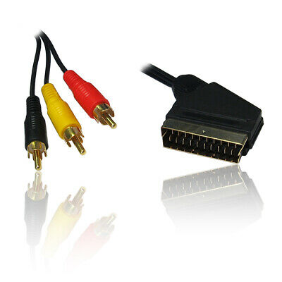 5m SCART To Triple Phono 3 X RCA Gold Plugs Video/Audio Phono Cable/Wire/Lead • 5.99£