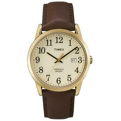 Timex Indiglo Mens Watch Easy Reader Brown Leather Strap TW2P75800 • 44.99£