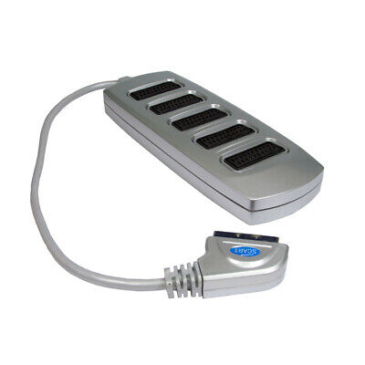 £8.99 • Buy 5 Way Silver Colour SCART Lead/Cable/Wire Splitter Box Use 5 Devices In 1 Socket