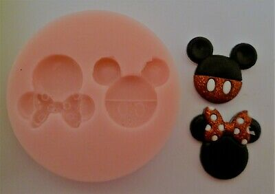 Mickey & Minnie Mouse Heads Silicone Mould For Cake Toppers, Chocolate, Clay Etc • 4.99£
