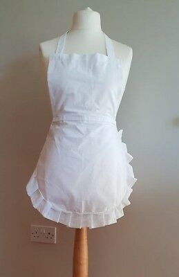 £7.99 • Buy Alice In Wonder 50's Full Apron White Cotton Frill, Junior Adult X Large