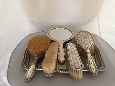 5 Piece Solid Silver Backed Dressing Table Set On A Matched Silver Plated Tray • 159.99£