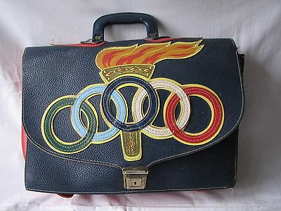 Vintage 1970s / 80s Olympics Red Blue Satchel Briefcase Backpack • 39£
