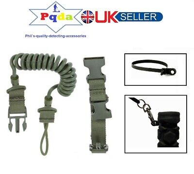 Metal Detecting Heavy Duty Military Coiled Lanyard For Pinpoint Probes & Trowels • 11.99£