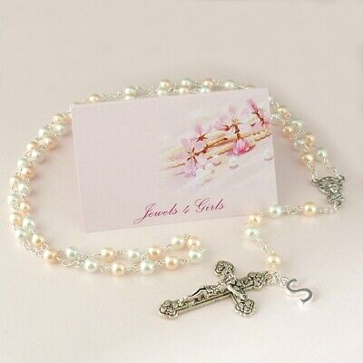First Holy Communion Gift, Rosary For Girls With Letter, High Quality Pearls • 6.49£
