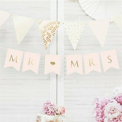 Pink & Gold Mr And Mrs Wedding Party Banner Bunting Decorations Banners WWED9941 • 4.99£