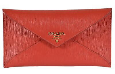 404ce119ccd9 New Prada 1MF175 Lacca Red Vitello Move Leather Flap Envelope Wallet Clutch  • 389.00$