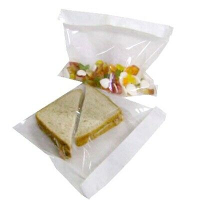 £5.95 • Buy 7x7  FILM FRONT CELLOPHANE WHITE PAPER BAGS CLEAR WINDOW CAKE SANDWICH SALE!!