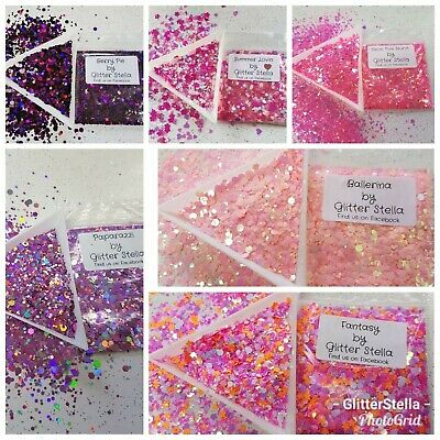 Nail Art Chunky Glitter 5g Bags Pink Purple Selection Craft Festival Dance Party • 1.20£