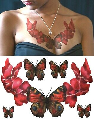 £2.89 • Buy Temporary Tattoo Large Red Rose Petals Butterfly Body Art Fake Waterproof Ladies