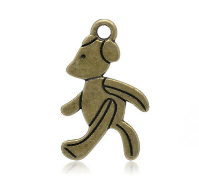 £1.89 • Buy 15 Walking Teddy Bear Charms Pendants Bronze Nicely Detailed Baby Shower 28 Mm