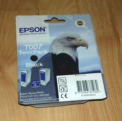 Genuine Epson T007 Black Twin Pack C13t00740210 Ink Cartridge. 2014 / 2015, New • 12£