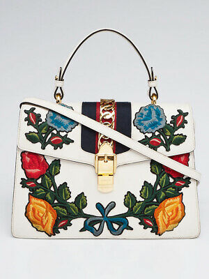 d31f0361c5f9d7 Gucci White Smooth Calfskin Leather Floral Embroidered Medium Sylvie Top  Handle • 1,855.00$