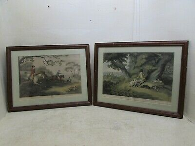2X Antique Hunting Prints After Samuel Howitt, Fox Hunting 2nd & Rabbit Shooting • 44.95£