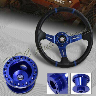 "14/"" Black Blue Steering Wheel Blue Quick Release Hub Kit For CRX 1988-1991"