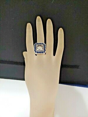 $ CDN12.52 • Buy NWT BASS WOMEN'S STRETCH RING - SILVER Tone WITH Blue Square Style #1384