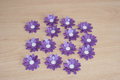 £2.99 • Buy 15 Hand Made Cadbury Purple Shimmer 3d Flowers. Card Toppers, Wedding Stationery