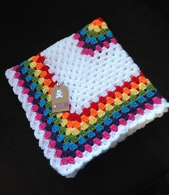 Handmade Crochet Baby Blanket/car Seat/pram/crib Rainbow Boy Girl Christmas Gift • 12.99£