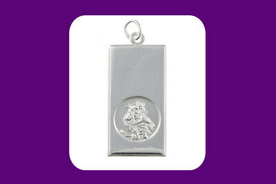 St. Christopher Ingot Pendant Sterling Silver 925 Hallmark 14 - 30  Length Chain • 32.95£