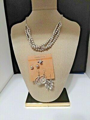 $ CDN20.04 • Buy G.H. BASS Necklace And Three Earrings Set Silver Tone Ball/Beads NWT